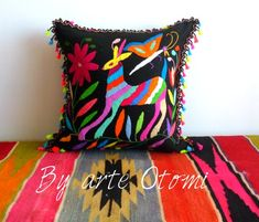 Otomi Pillow sham Multicolor Linen- hand embroidered by Otomi indigenous women. Backstrap loom fabric in the back - Pompoms - Birds Mexican Museum, Mexican Colors, Pillow Shams, Decorative Pillows, Needlework, Birds, Embroidery, Fabric, Loom