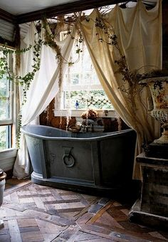 Bohemian bathroom designs are too similar to us- people who are interested in home design. That is the fact that Bohemian bathroom is a styl. Witch Cottage, Witch House, Cozy Cottage, Cottage Farmhouse, French Cottage, French Farmhouse, Shabby Cottage, Farmhouse Decor, Deco Vintage Pas Cher