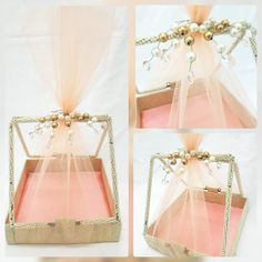 Funktionz Pearl and Net Basket, perfect for flower girls, make up hampers, dry f. Indian Wedding Gifts, Creative Wedding Gifts, Desi Wedding Decor, Diy Wedding Decorations, Wedding Gift Hampers, Wedding Gift Wrapping, Wedding Gift Boxes, Trousseau Packing, Make Up Braut