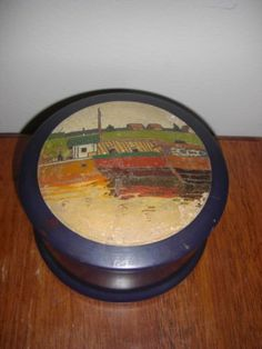 Antique Russian Carved Hand Painted Wooden Wood Round Box Folk Art Scene 3