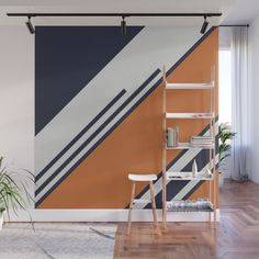 Retro Stripes in Blue Orange Wall Mural by pelaxy Bedroom Wall Designs, Accent Wall Bedroom, Home Decor Bedroom, Home Room Design, Home Interior Design, House Design, Wall Color Combination, Orange Walls, Blue Orange