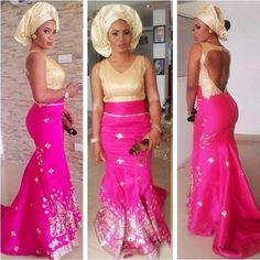 Nigerian wedding pink & gold asoebi colors