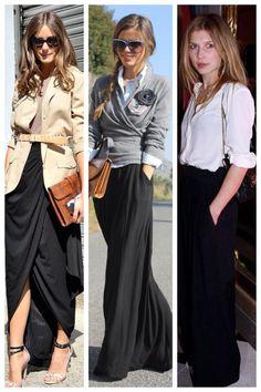 Nuestro look para hoy, faldas largas de color negro, ideales para estilizar tu figura!
