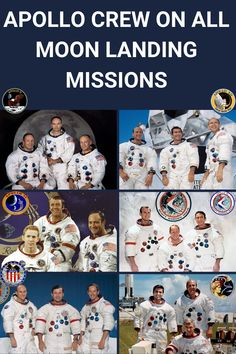 Here are pictures of the Apollo crew on all successful moon landing missions. Which one do you like the most? #Apollo #NASA #ApolloProgram #Moon #Space #Astronauts Apollo 11, Apollo Nasa, Apollo Program, Apollo Missions, Moon Landing, Space Program, Space Shuttle, Space Travel, Space Exploration