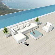 (Outdoor Sofa Bed)NEW Uduka Prague Outdoor Off White Round Sectional Patio Furniture White Wicker Sofa Set All Weather Couch White Patio Furniture, Sectional Patio Furniture, Furniture Sofa Set, Balcony Furniture, Wicker Furniture, Wicker Sofa, Outdoor Furniture Sets, Outdoor Sectional, Furniture Ideas