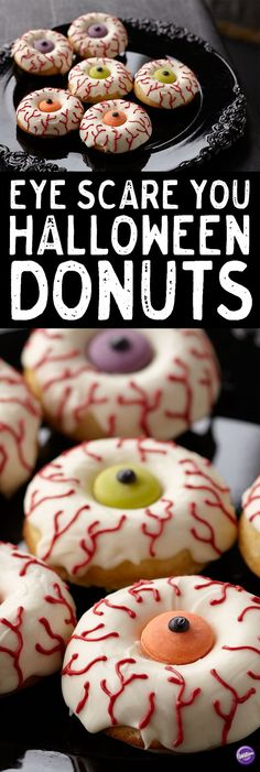 Eye Scare you Halloween Donuts - Wake up your Halloween celebration with candy-topped doughnuts! Use the Wilton doughnut pan to bake them fresh, then cover and decorate with Candy Melts candy for treats that are ready in the blink of an eye!