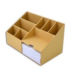 Diy Stationery Organizer, Diy Organizer, Desk Organization Diy, Diy Desk, Cardboard Furniture, Cardboard Crafts, Carton Diy, Cardboard Organizer, Diy Storage Boxes