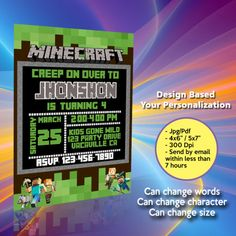 Your printable files will be delivered within 7 hrs or less! We personalize the invitation with your text, and you can print as many as needed. Minecraft Birthday Invitations, Chanel Flower, Lol Dolls, Pink Patterns, I Am Happy, Graduation Gifts, Rsvp, Wedding Gifts, Birthday Gifts