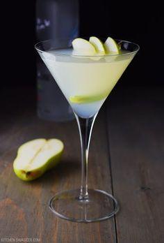 Pear And Elderflower Martini With Pear Vodka, Elderflower Liqueur, Lemon Juice, Simple Syrup, Pears