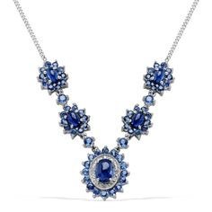 Liquidation Channel: Himalayan Kyanite, Kanchanaburi Blue Sapphire, and Diamond Necklace (20 in) in Platinum Overlay Sterling Silver (Nickel Free)