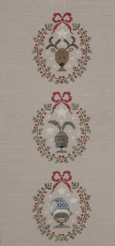 Tralala, delightful , but simple Xmas design. Christmas Sewing, Christmas Embroidery, Christmas Cross, Cross Stitch Love, Cross Stitch Designs, Cross Stitch Patterns, Cross Stitching, Cross Stitch Embroidery, Family Ornament
