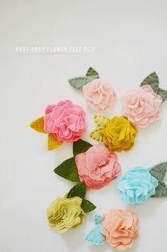 diy: rosy posy flower felt clip