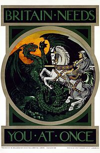 British recruitment poster from World War I, featuring St. George and the Dragon.