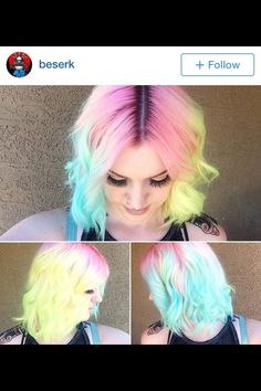 Half and Half Pink Hair Blue and Yellow