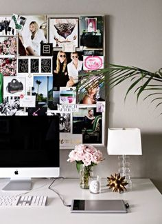 15 Things Every Single Fashion Blogger Has on Her Desk - vase of pink peonies + bulletin style moodboard
