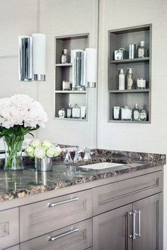 //Ask an Expert: Bathroom Renovation Trends Inset shelf replaces medicine cabinet.//Ask an Expert: Bathroom Renovation Trends Bathroom Niche, Bathroom Shelves, Bathroom Storage, Small Bathroom, Bathroom Cabinets, Bathroom Ideas, Bathroom Marble, Bathroom Remodeling, Marble Wall