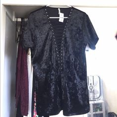 LF Vintage Velvet Lace Up Shirt Super cute and trendy. LF is completely sold out of this. Never worn and new with tags. The Large fits like a tshirt dress and is super cute. LF Tops Tees - Short Sleeve