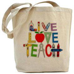 CafePress Live Love Teach Tote Bag