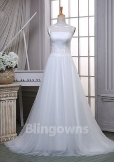 Bateau Buttons Tulle Ruched Sweep Train Sleeveless A-line White Wedding Dresses