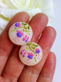 Fuchsia flower filigree earrings, romantic flower polymer clay earrings – Folt Bolt Shop