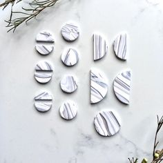 Katrilee Designs grey and white marbled earring pieces pre bake. Made with the scrap pieces from another collection, this zero waste clean minimalist capsule is a great example of slow fashion. Handmade in england using polymer clay DIY marbling technique. Polymer Clay Art, Polymer Clay Earrings, Handmade Beaded Jewelry, Diy Clay, Artist At Work, Crafty, Clay Ideas, Necklaces, Bracelets