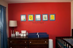 Dr Seuss Themed Nursery - love the idea of framing book covers for a fun wall art collection!