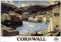 Cornwall, Polperro Harbour, Vintage Great Western Railway (GWR) Travel poster by PM Hill. Train Posters, Railway Posters, Posters Uk, A4 Poster, Retro Poster, Poster Wall, Poster Vintage, Vintage Prints, Vintage Style