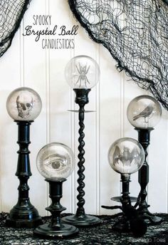 Spooky Halloween Crystal Ball Candlesticks | #Halloween #HalloweenDecorating