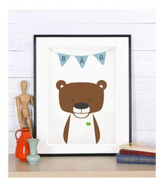 Bild für das Kinderzimmer, Plakat mit Bär in braun und Herz in grün für Kinder, Wimpelkette und Bilderrahmen / Picture for the child's room, poster with a bear in brown and a heart in green for kids, bunting and frame by emugallery via DaWanda.com