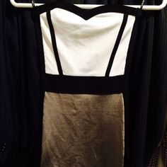BEBE BANDAGED DRESS • brand new • No tags • No bad smells, stains or damages • Taking offers • Size XS, Stretch material  • I'm 34C or 32DD, 5'3, 110lbs bebe Dresses Strapless