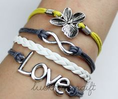 Ancient love infinite & flower bracelet with silver grey yellow rope white leather woven fashion bracelet-Q074 by luckystargift, $4.29