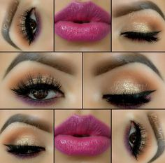 purple liner, purple magenta lipstick, sparkle on the eyes