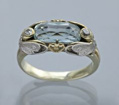 This is not contemporary - image from a gallery of vintage and/or antique objects. ART NOUVEAU Butterfly Ring Two Colour Gold Aquamarine Diamond Art Nouveau Ring, Bijoux Art Nouveau, Art Nouveau Jewelry, Jewelry Art, Jewelry Gifts, Antique Jewelry, Vintage Jewelry, Jewelry Accessories, Jewelry Design