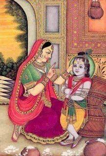 Narayaneeyam: Narayaneeyam-Dasakam: 47 Yashodha Tying Krishna to the Mortar Mysore Painting, Rajasthani Painting, Krishna Painting, Madhubani Painting, Krishna Lila, Little Krishna, Krishna Radha, Lord Krishna, Yashoda Krishna