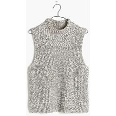 MADEWELL Veranda Sleeveless Sweater ($78) ❤ liked on Polyvore featuring tops, sweaters, marled ink, white turtleneck, sleeveless sweater vest, white sweater vest, ribbed sweater and turtle neck sweater