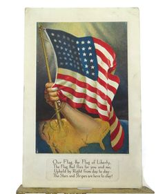 Star Spangled Banner - Americana - US Flag rising from the map held in hand Antique Postcard with American Flag