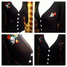 OOAK DiY Rockabilly Day Of The Dead Cardigan Sweater S