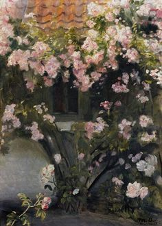 Climbing roses - Michael Peter Ancher (Denmark, 1849-1927) (Impressionism)