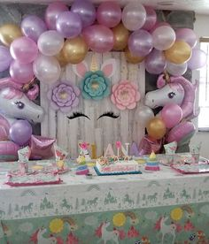 Unicorn Birthday Party Decorations for Ideas 2020 Unicorn Birthday Decorations, Unicorn Themed Birthday Party, Unicorn Birthday Parties, First Birthday Parties, Birthday Party Themes, Birthday Ideas, Unicorn Party Decor, 5th Birthday, Baby Shower Unicornio