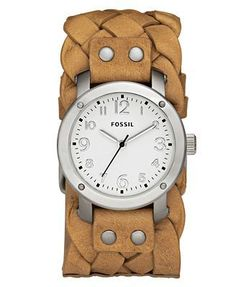 Fossil Watch, Women's Tan Braided Leather Cuff Bracelet - watches, military, marc jacobs, pocket, casio, cartier watch *ad