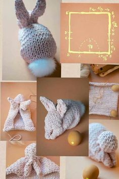 Timestamps DIY night light DIY colorful garland Cool epoxy resin projects Creative and easy crafts Plastic straw reusing ------. Knitted Bunnies, Knitted Animals, Crochet Bunny, Knitted Dolls, Knit Crochet, Crochet Crafts, Sewing Crafts, Craft Patterns, Crochet Patterns
