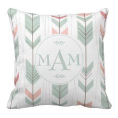 Green Decorative Throw Pillows | Pretty Throw Pillows | Green tribal pastel monogram throw pillow #green #tribal #monogram #prettythrowpillows