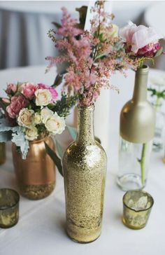 Painted bottles -- could do on shades of gold, copper, and a metallic brownish --??