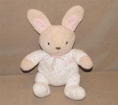 """Carters Cream Bunny Rabbit White Pink Polka Dot Outfit Plush Rattle 9"""" Toy 4462 #Carters"""