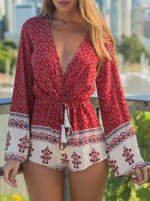 Red Long Sleeve Deep V Neck Floral Playsuit
