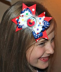 Cute Sesame St. hair bows! diy!  Great for party favors or gifts.