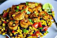 Southwest Shrimp and Succotash made with fresh corn and black beans is a fresh, healthy, and easy dinner with a TexMex twist.