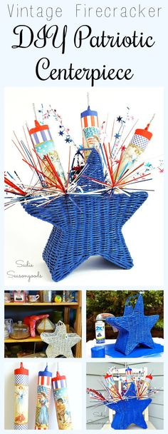 """Create festive July 4th porch decor (or a party centerpiece) by pairing a star-shaped basket and some DIY vintage """"firecrackers"""" using an old paper towel or gift wrap cardboard tube! It's the best kind of fireworks- pretty, vintage, and silent!! Easy to make and full of repurposing / upcycling opportunities here from stuff around your house. Just in time for Independence Day- DIY red, white, and blue! #SadieSeasongoods / www.sadieseasongoods.com"""