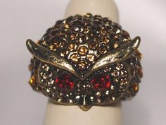 Topaz Amber Owl Head Stretch Cocktail Ring Accented with Crystals  #Cluster