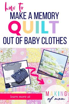 Want to make a quilt from baby clothes and preserve those precious memories and keepsake outfits? A simple rag quilt is a great way to do it! Learn how to make one here. Quilt From Baby Clothes - The Best Way to Save Your Favorite Keepsake Outfits Diy Baby Clothes Quilt, Baby Clothes Blanket, Old Baby Clothes, Baby Memory Quilt, Memory Pillows, Baby Quilts, Memory Quilts, Shirt Quilt, Rag Quilt
